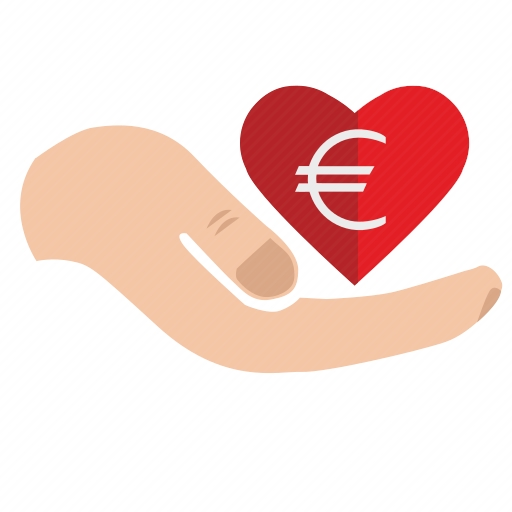 Vector image №10642 by keywords add, charity, money, euro, heart, mercy