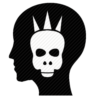 Vector image №11583 for design by keywords anarchy, man, head, mind, skull