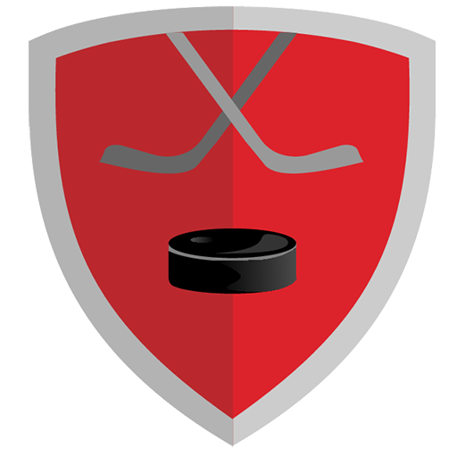 Vector image №11667 for design by keywords hockey, shield, puck, game, club, red